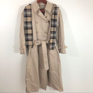 London Fog Double Breasted Trench Coat Plaid Scarf